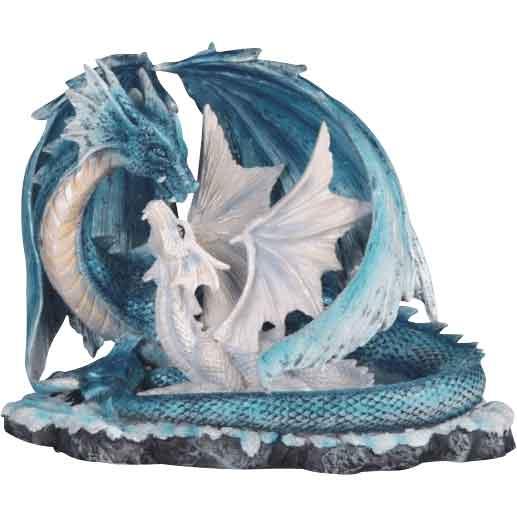 Winter Dragon Duo Statue