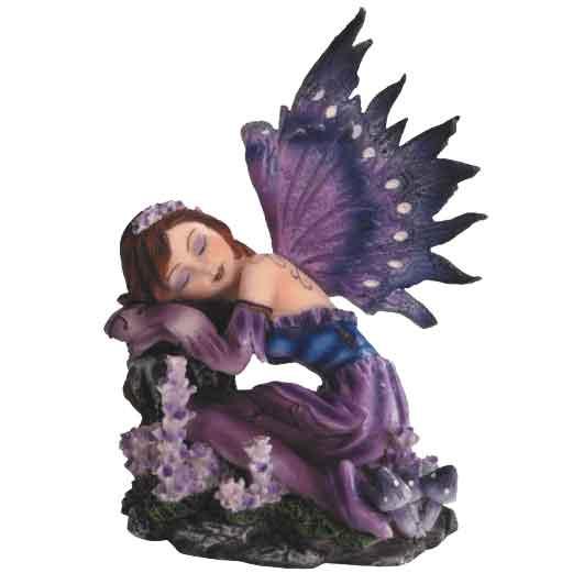 Resting Purple Flower Fairy Statue