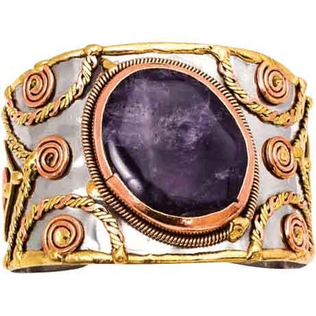Mixed Metal Amethyst Cuff Bracelet