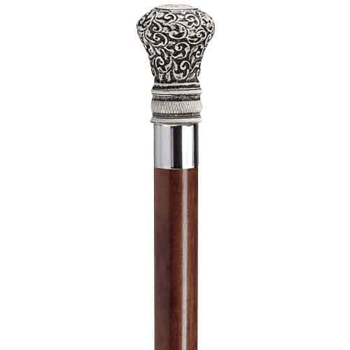 Regency Bulb Scrimshaw Brown Walking Stick