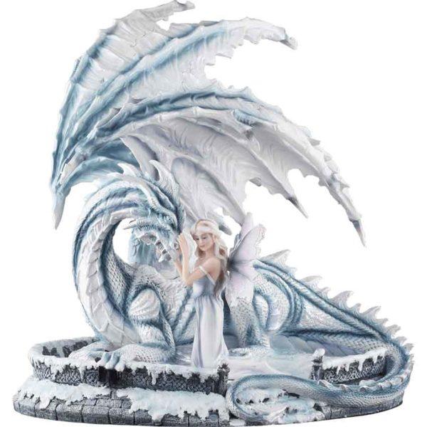 Fantasy Ice Fairy with Dragon Statue