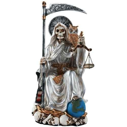 Seated White Santa Muerte Statue