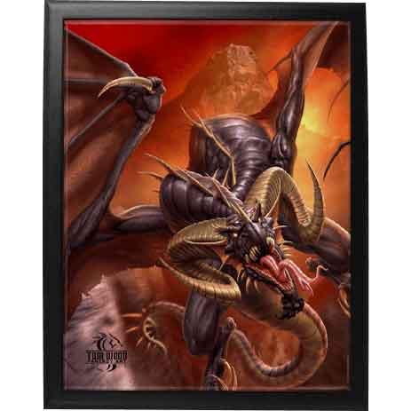 Framed Dragon Raid Tile by Tom Wood
