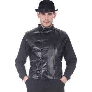 Sleeveless Faux Leather Steampunk Jacket
