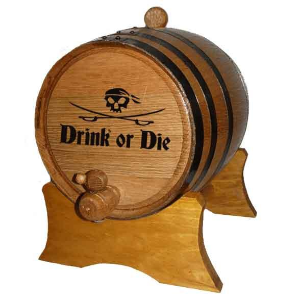 Pirate's Drink or Die 2 Liter Oak Barrel