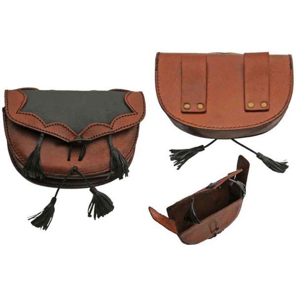 Leather Belt Bag with Black Tassels