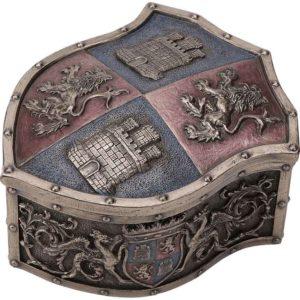 Medieval Crest Bronze Trinket Box
