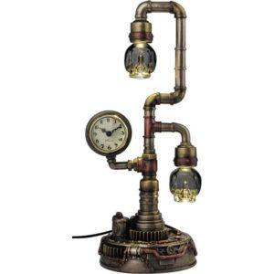 Steampunk Pipework Clock Lamp