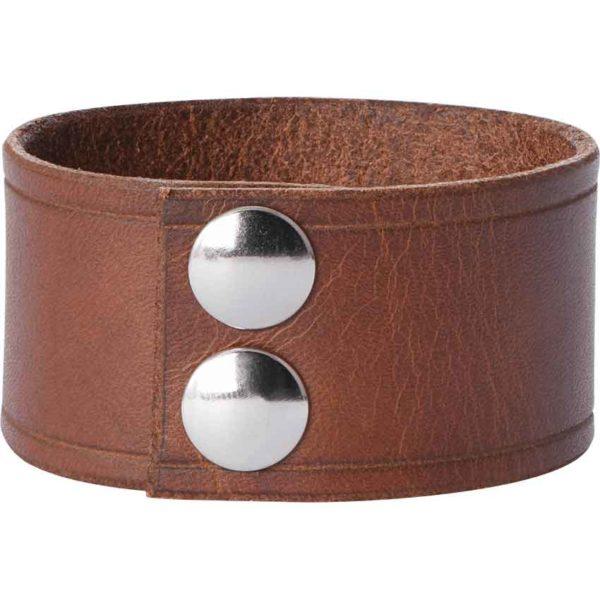Leather Wrist Cuffs with Maple Leaf