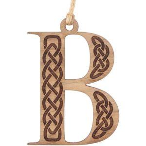 Celtic Knot Letter Wooden Christmas Ornament