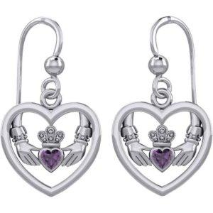 Gemstone Claddagh in Silver Heart Earrings